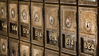 Numbers on metal deposit boxes in a bank